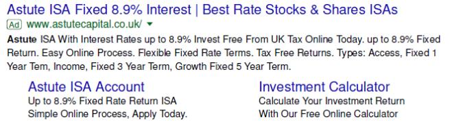 Astute Capital Google ad